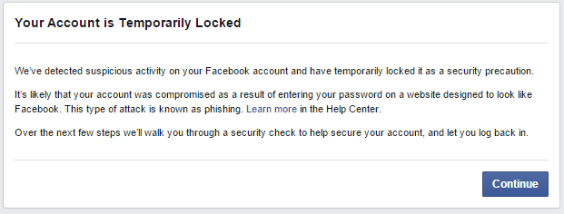 Facebook Account Locked
