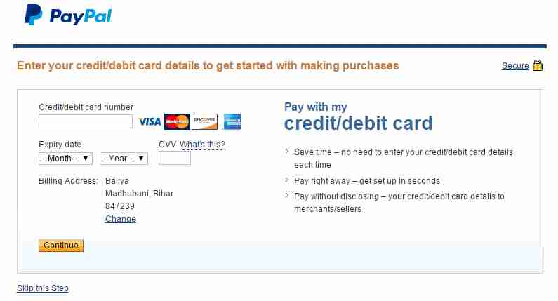Enter Credit Card To Create PayPal Account