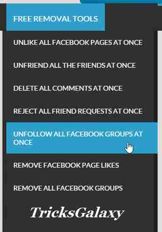 Unfollow All Facebok Group using Social Toolkit