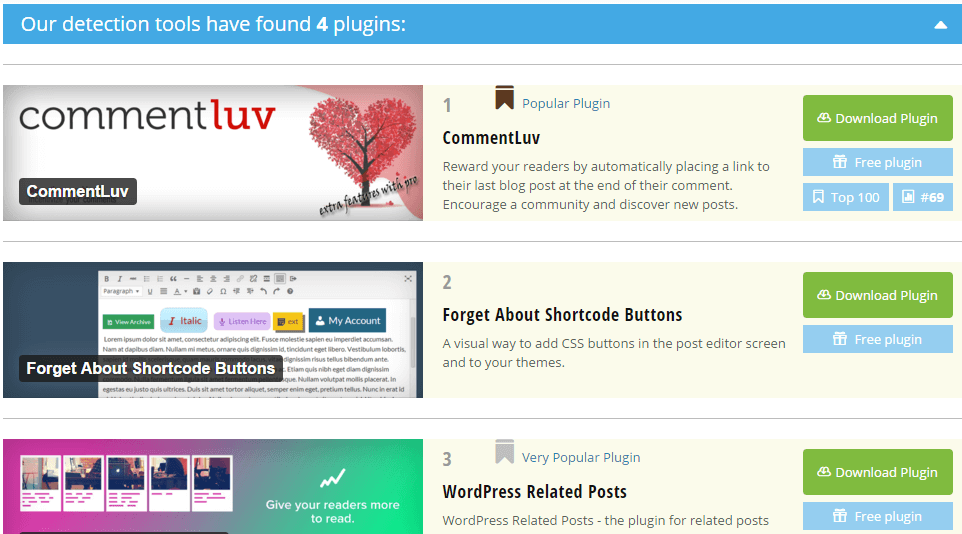 WordPress Plugins List by WP Theme Detector