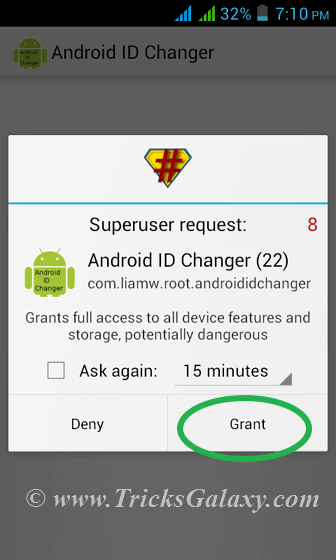Android ID Changer Grant Root Permission