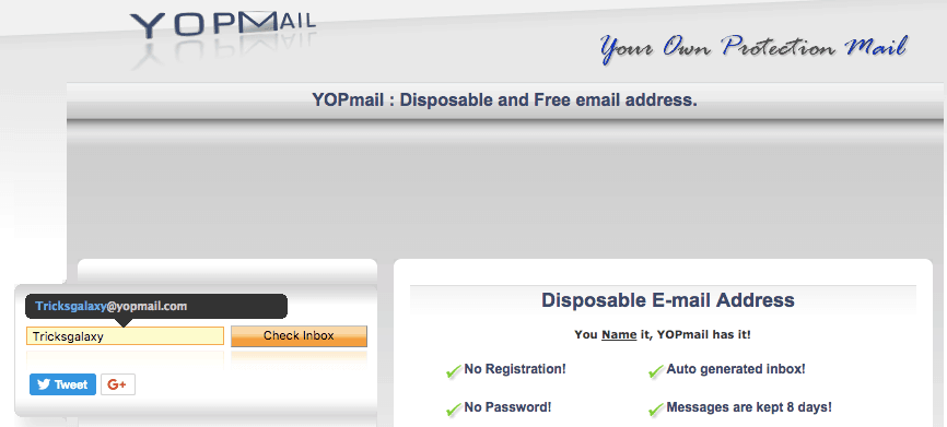 Disposable mail