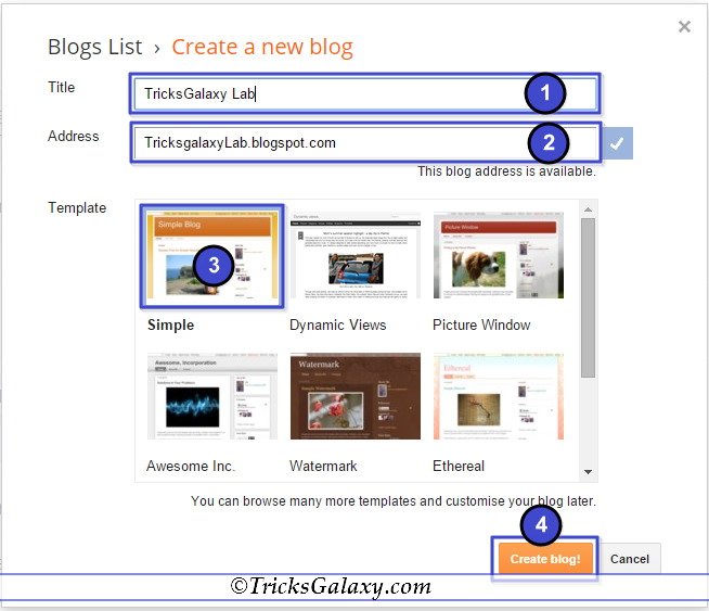 Creating Blog on Blogger