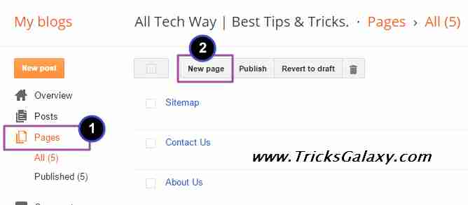 Create New Sitemap Pages in Blogger
