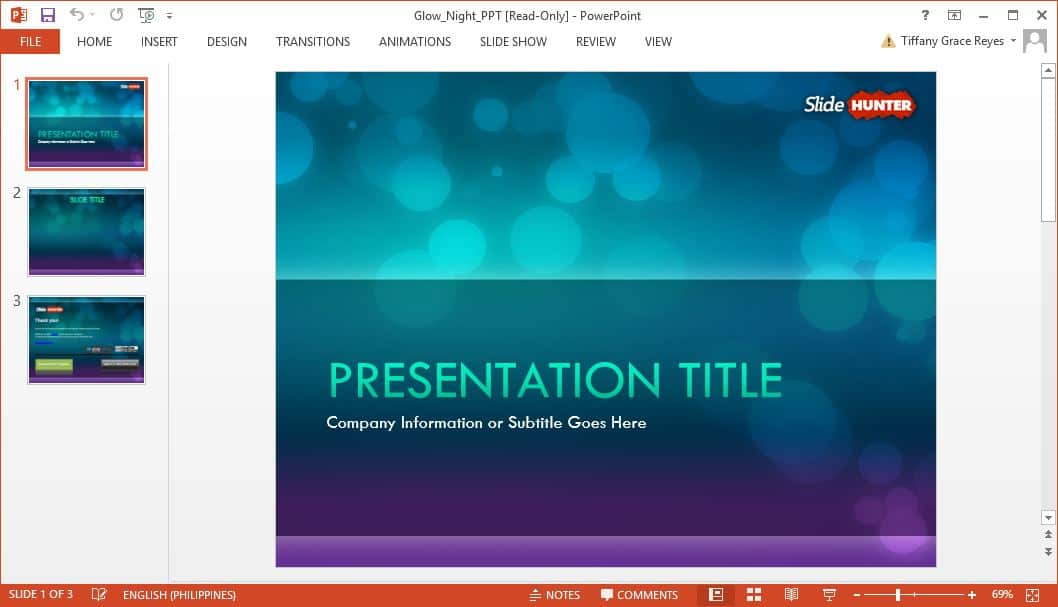 SlideHunter glow night powerpoint template