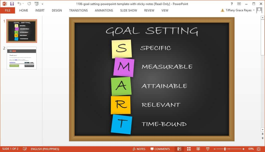 SlideHunter goal setting powerpoint template