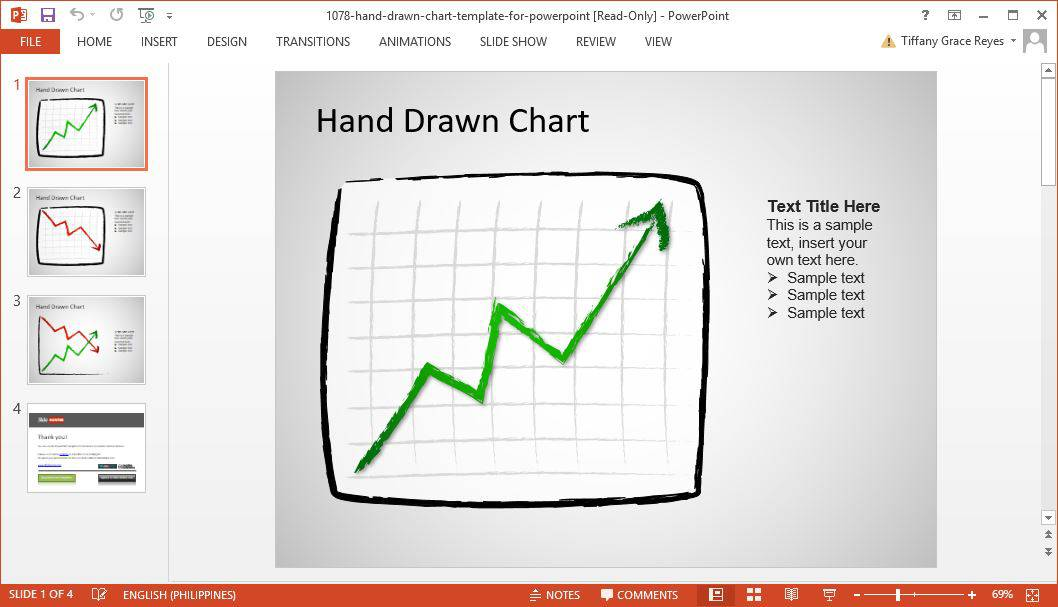 SlideHunter hand drawn chart powerpoint template