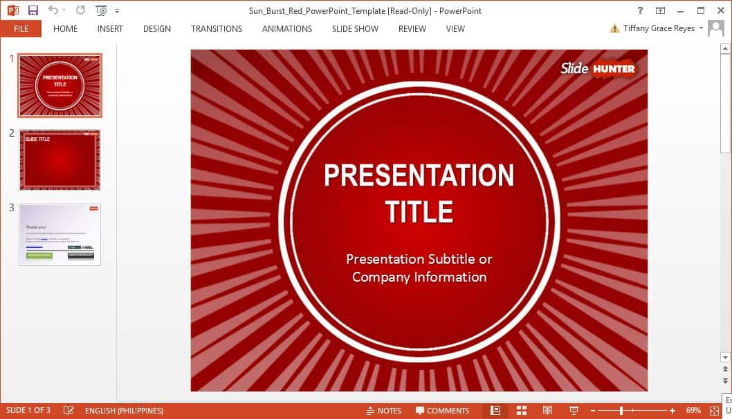SlideHunter red sun burst powerpoint template