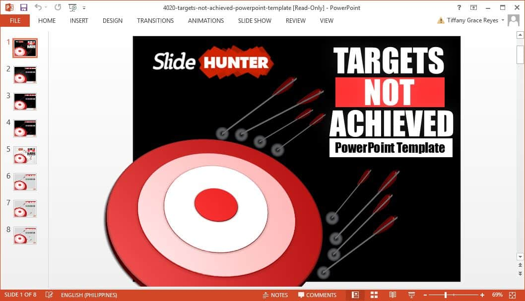 SlideHunter targets not achieved powerpoint template