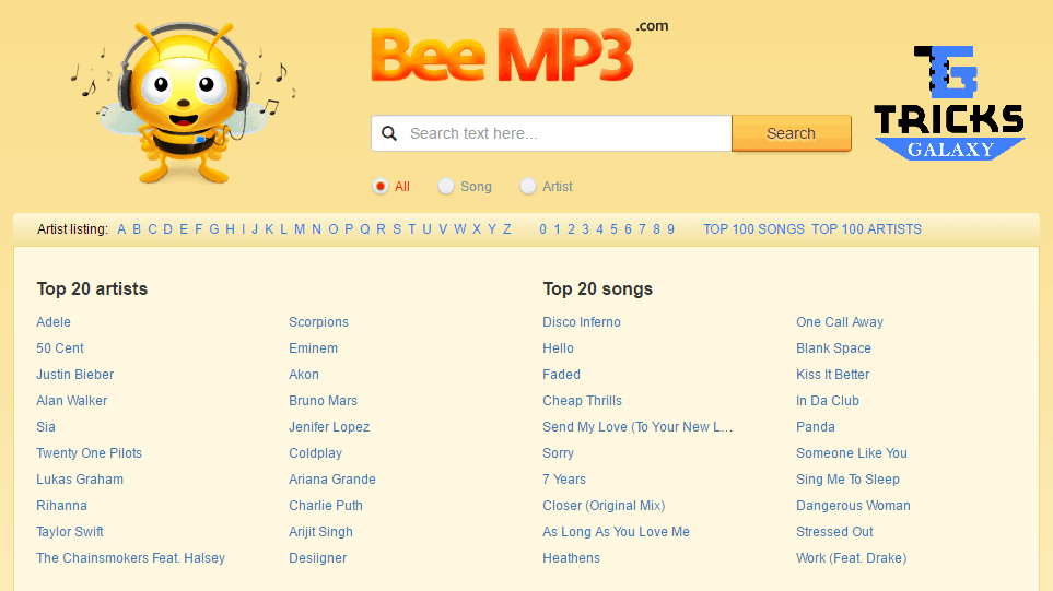 BeeMp3 Music Search Engine